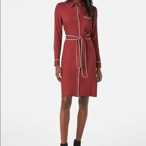 Just Fab Shirt Dress with Contrast Trim